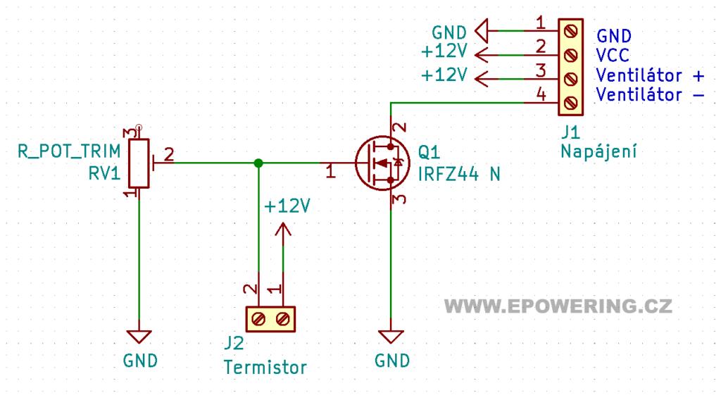 schéma: Spínání ventilátoru při určité teplotě